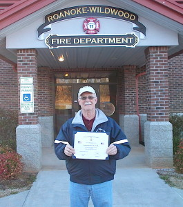 A SAR Flag certificate is awarded to the Roanoke-Wildwood VFD in Roanoke Rapids, NC.
