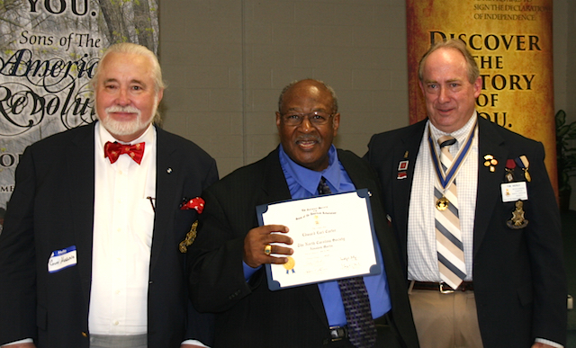 (L to R, Guy Higgins, Edward Carter, and NCSSAR President Tim Berly.)