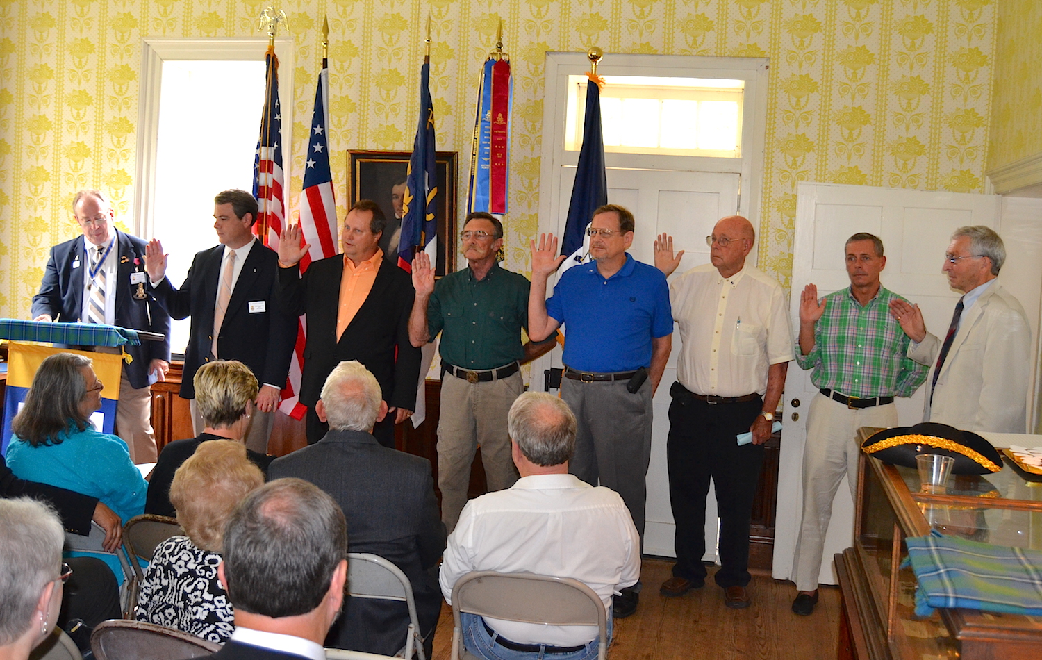 Charter members of the COL Alexander Erwin chapter take their SAR membership oaths on September 12 2015.