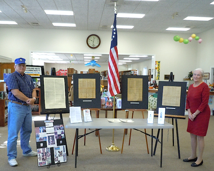 The Halifax Resolves Chapter, North Carolina SAR, posted a display for Constitution Day in the Roanoke Rapids Library on September 15, 2015.
