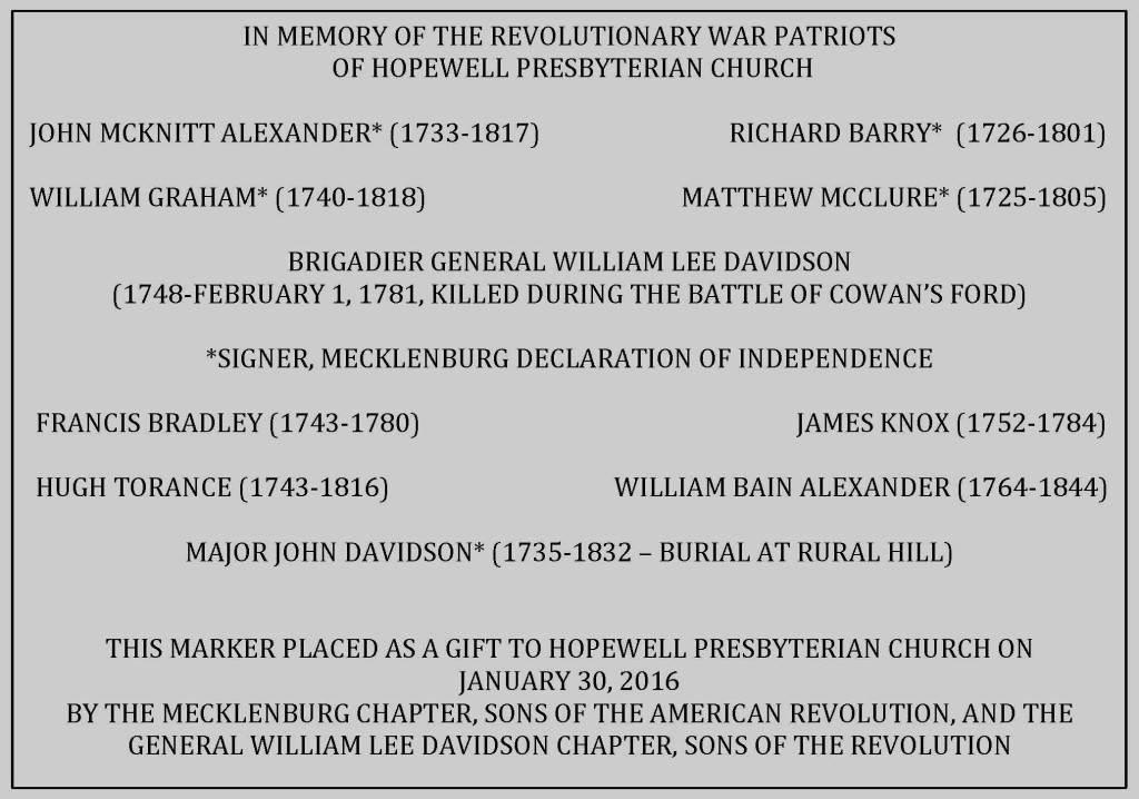 Join the Mecklenburg SAR chapter in raising funds for a Revolutionary War Monument at Hopewell Presbyterian Church.