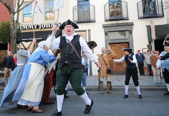 Lower Cape Fear chapter past president Gary Green reenacts the Stamp Act Protests in Wilmington, NC on November 14 2015.