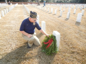 SAR New Bern Chapter VP Gary Gillette, laying a wreath at the gravestone of a Veteran family member.