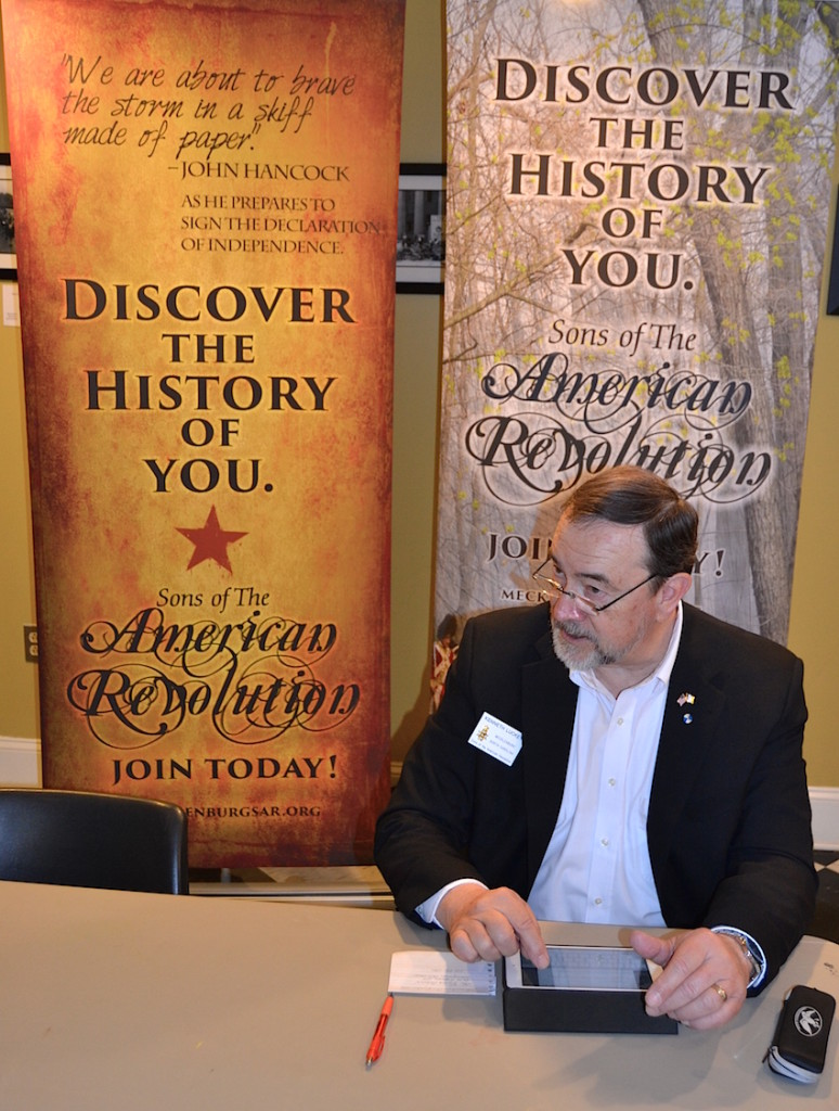 Mecklenburg chapter vice president Ken Luckey at the Genealogy workshop on February 20 2016 in Lincolnton, NC.