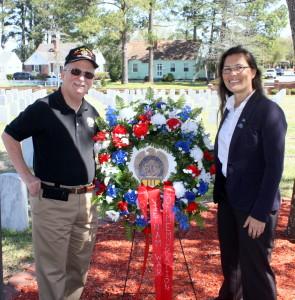 Gary Gillette, New Bern SAR Chapter Vice President & Registrar and New Bern National Cemetery's Program Assistant, Sandra N. LaRochelle.