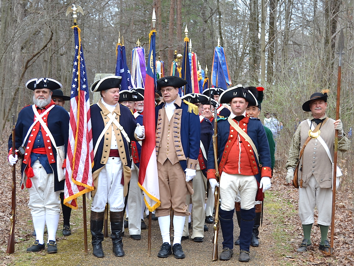 The SAR National Color Guard assembles to march to the Nathanael Greene statue.