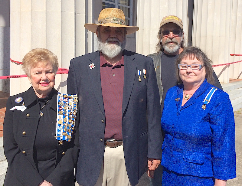 Mecklenburg and Catawba Valley chapter SAR members attend Veterans Salute on March 29 2016 in Lincolnton, NC.