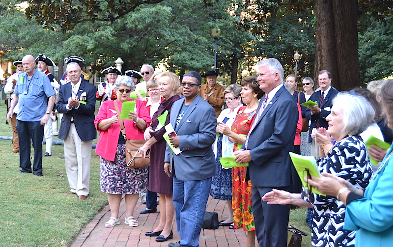 Civic officials attended the Patriot Ephraim Brevard monument unveiling on September 24 2016 in charlotte.