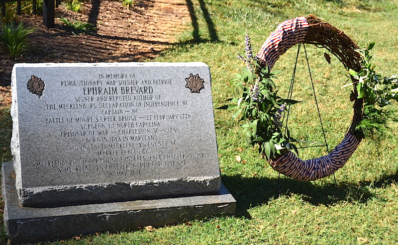 The monument for Patriot Ephraim Brevard in the Old Settlers' Cemetery in Charlotte, NC.