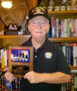 """Gary Gillette with his """"2016 Veteran of the Year"""" award for Craven County, NC"""