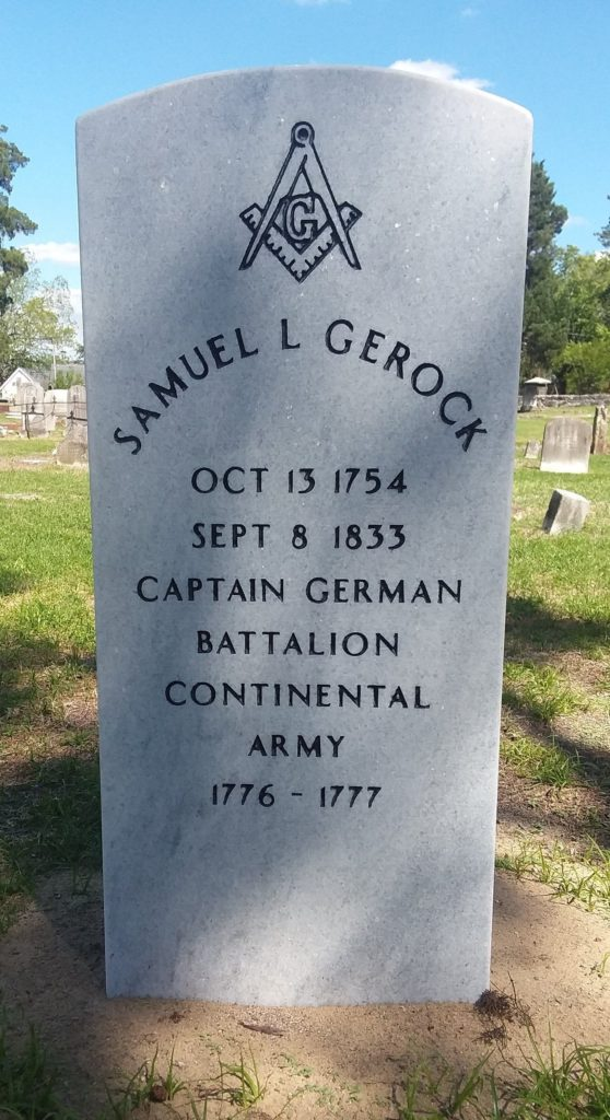 Join the New Bern SAR chapter for a grave marking ceremony for Patriot Samuel L Gerock at the Cedar Grove Cemetery in New Bern, NC on Thursday, June 13 2019.