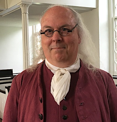 Come see Benjamin Franklin speak at the 239th Anniversary of the Battle of Cowan's Ford on February 1 2020 at Hopewell Presbyterian Church in Huntersville, NC.