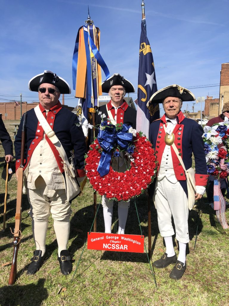 Gen George Washington SAR chapter members attend the annual Crossing of the Dan ceremony in South Boston, VA, on February 15, 2020.